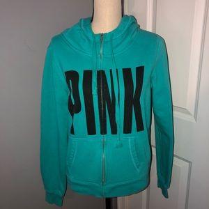 PINK Victoria's Secret Teal Logo Zip Up Sweatshirt